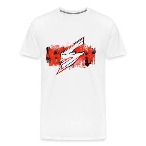 White Shirt - Red Splash with Skyloud Logo - Men's Premium T-Shirt