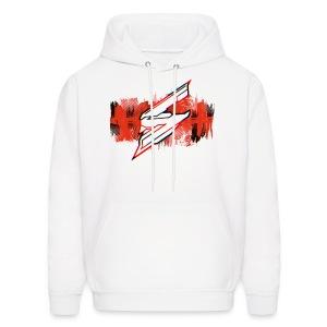 White Hoodie - Red Splash with Skyloud logo - Men's Hoodie