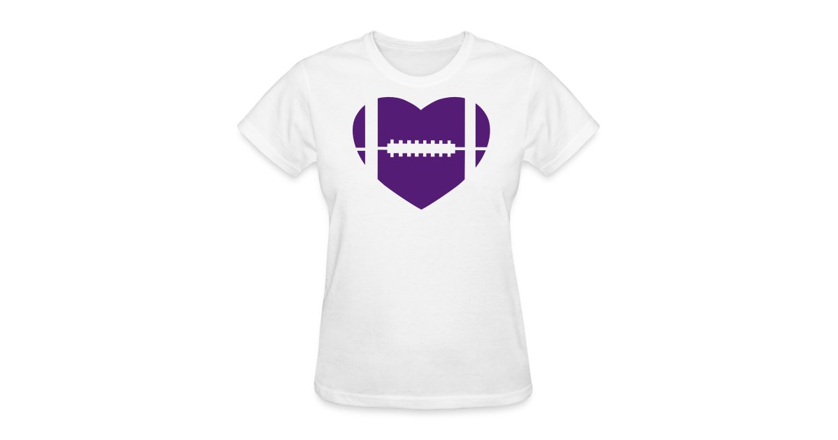 Women s PURPLE GLITTER football heart 5fc2016791