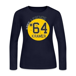 1265 Legends #64 Jerry Kramer Ladies Long Sleeve T Shirt - Women's Long Sleeve Jersey T-Shirt