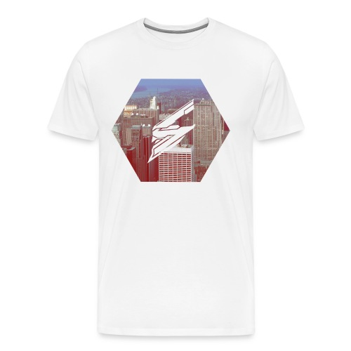 White Shirt - Hexagon Shape with Skyloud Logo - Men's Premium T-Shirt