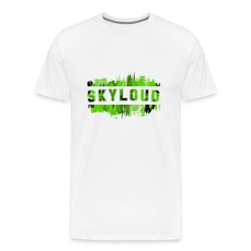 White Shirt - Green Splash with Skyloud text - Men's Premium T-Shirt