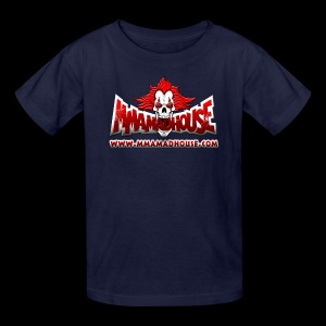 MMAmadhouse with URL (FRONT) Support Local MMA (BACK) - Kids' T-Shirt