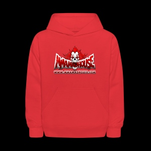MMAmadhouse with URL (FRONT) Support Local MMA (BACK) - Kids' Hoodie