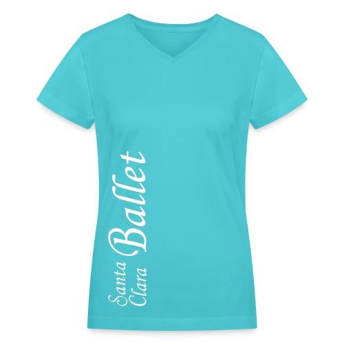Lady's V-neck T - White Logo - Women's V-Neck T-Shirt