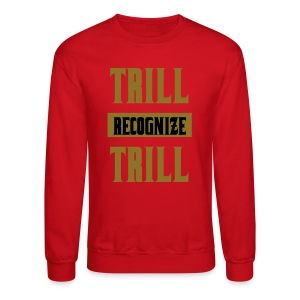 Trill Recognize Trill Sweater Red and Gold  - Crewneck Sweatshirt