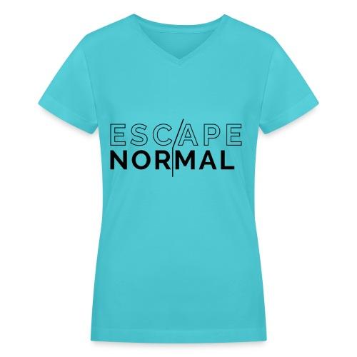 Women's V-Neck Escape Normal Tee - Turquoise - Women's V-Neck T-Shirt