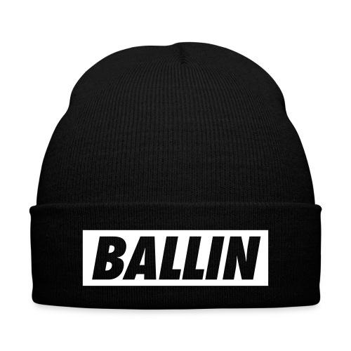 Ballin Beanie (White Text) - Knit Cap with Cuff Print