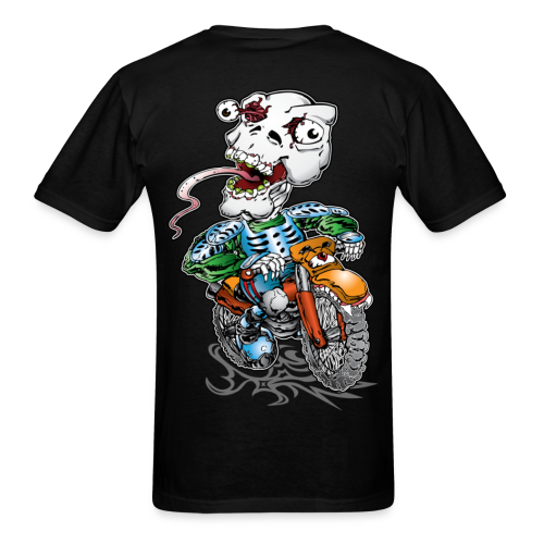 Skull Tongued DirtBiker BACK - Men's T-Shirt