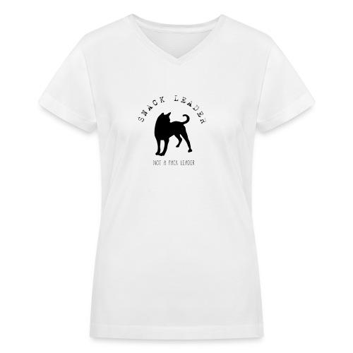 T-shirt Snack Leader pour femmes ( Blanc )  - Women's V-Neck T-Shirt