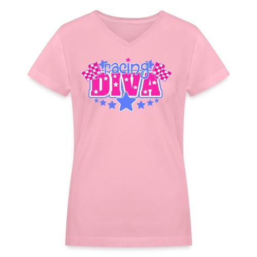 Diva in PInk - Women's V-Neck T-Shirt