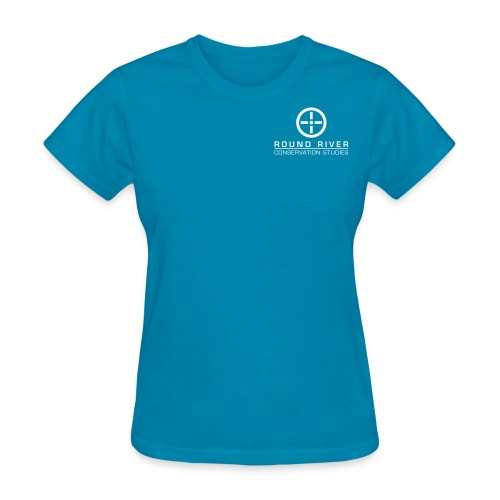 Women's relaxed fit t-shirt, blue with white logo. - Women's T-Shirt