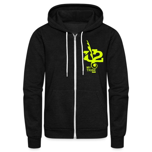 U+2=MY TRIBE - back+front neon - xs/xxl - multi colors - Unisex Fleece Zip Hoodie