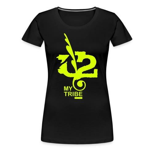 U+2=MY TRIBE - back+front neon/glow - s/3xl - multi colors - Women's Premium T-Shirt