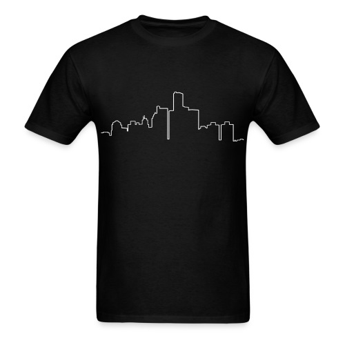 Detroit Skyline Line Drawing - Men's T-Shirt