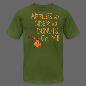 Apples and Cider and Donuts, Oh, MI! - Men's T-Shirt by American Apparel