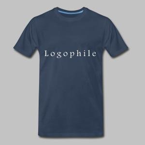Logophile Men's T-Shirt - Blue and White - Men's Premium T-Shirt