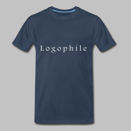 Logophile Men's T-Shirt - Blue and White - Men's Premium T-Shirt