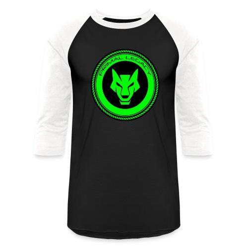 Primal Legacy wolf logo (green) 3 quarter sleeve - Baseball T-Shirt