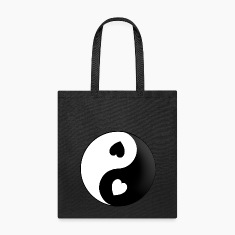 Yin Yang Love Hearts Tote Bag