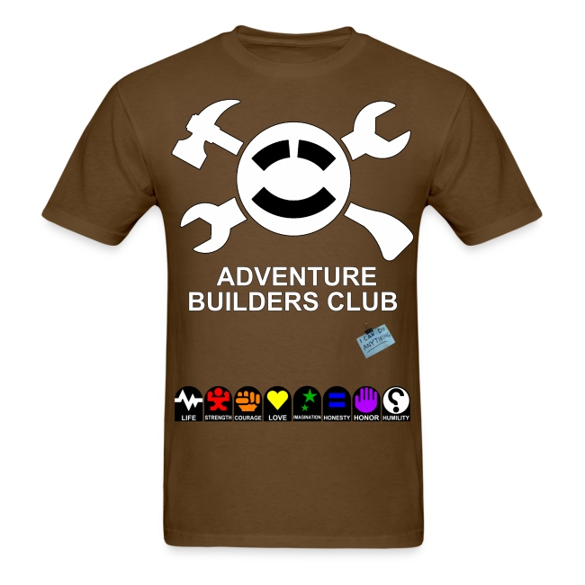 (Mens) Adventure Builder Shirt Front and Back.  It increases your stats!