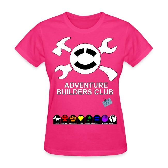 (Womens) Adventure Builder Shirt Front and Back.  Of course it increases your stats!