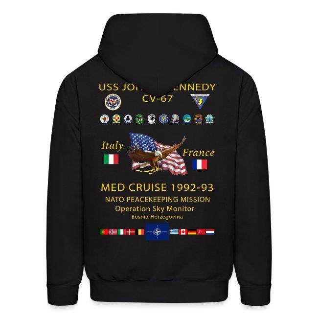 USS JOHN F KENNEDY CV-67 MED CRUISE 1992-93 HOODIE