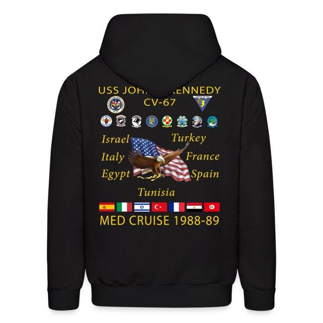 USS JOHN F KENNEDY CV-67 MED CRUISE 1988-89 HOODIE