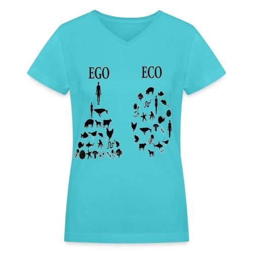 animal rights ego vs eco - Women's V-Neck T-Shirt