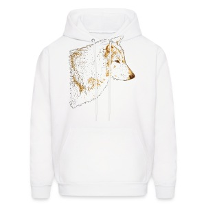 Grey Wolf Head Illustration - Men's Hoodie