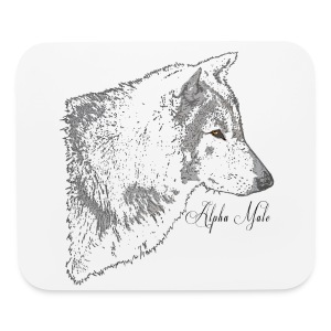 Grey Wolf Head Illustration - Mouse pad Horizontal
