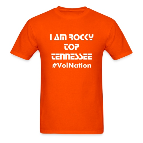 I AM ROCKY TOP TENNESSEE (MENS)/ Orange and White  - Men's T-Shirt
