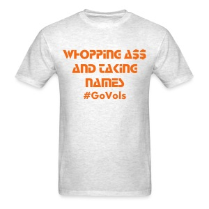 Whopping Ass and taking names (MENS)/ Orange and Gray - Men's T-Shirt