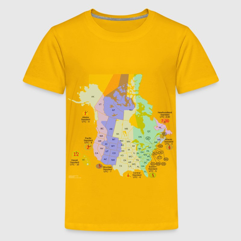 USA Canada time zone map - Kids' Premium T-Shirt