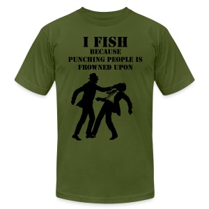 Punching People Men's Fitted T-Shirt (olive) - Men's T-Shirt by American Apparel