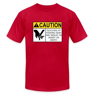 Warning Label Men's Fitted T-Shirt (Red) - Men's T-Shirt by American Apparel