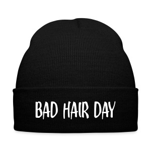 'Bad Hair Day' Beanie - Knit Cap with Cuff Print