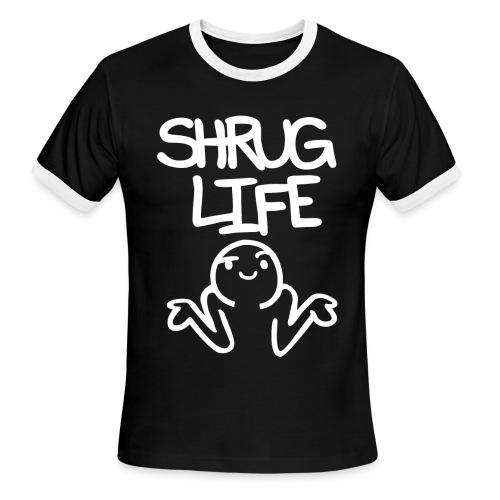 Men's Shrug Life Ringer Tee - Inverted - Men's Ringer T-Shirt