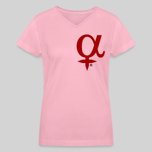 ALPHA Female Symbol V-Neck T-Shirt - Women's V-Neck T-Shirt