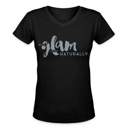 Metallic Silver 'Being Glam' Design, Short Sleeve V-neck Tee - Women's V-Neck T-Shirt