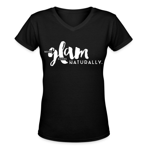 White 'Being Glam' Design, Short Sleeve V-neck Tee - Women's V-Neck T-Shirt
