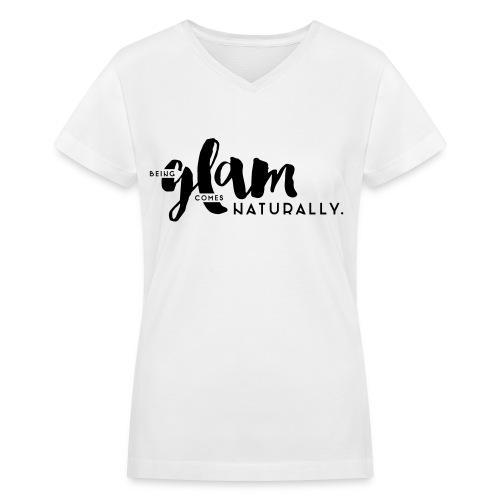 Black 'Being Glam' Design, Short Sleeve V-neck Tee - Women's V-Neck T-Shirt