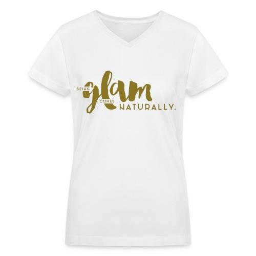Metallic Gold 'Being Glam' Design, Short Sleeve V-neck Tee - Women's V-Neck T-Shirt
