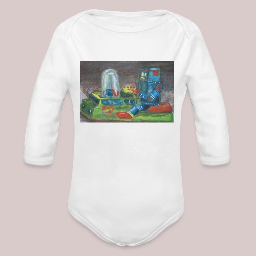 Popomatic-bot One Piece  - Organic Long Sleeve Baby Bodysuit