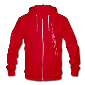 Berlin TV Tower  - Unisex Fleece Zip Hoodie by American Apparel