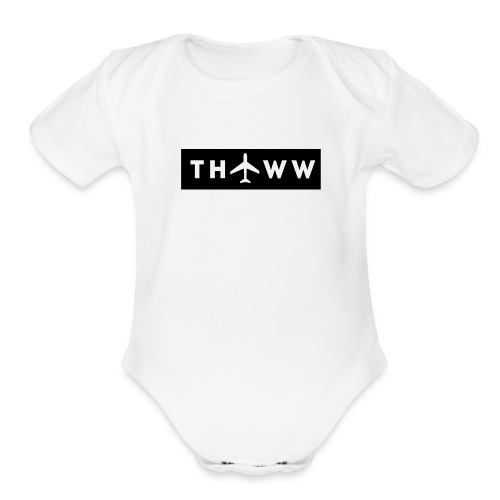 THTWW White/Black - Organic Short Sleeve Baby Bodysuit