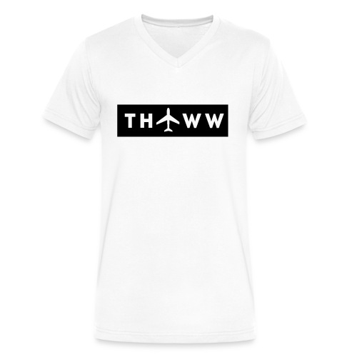 THTWW White/Black V-Neck - Men's V-Neck T-Shirt by Canvas