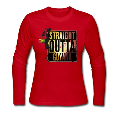 Straight Outta Guyana Long Sleeve T-Shirt - Women's Long Sleeve Jersey T-Shirt