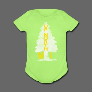 Up North Mi Tree - Short Sleeve Baby Bodysuit