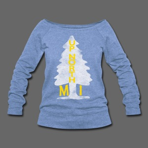 Up North Mi Tree - Women's Wideneck Sweatshirt